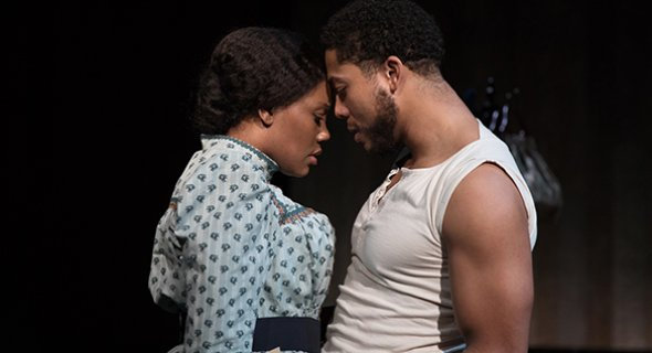 Kearstin Piper Brown and Justin Austin in Lynn Nottage's and Ricky Ian Gordon's INTIMATE APPAREL (2021). Photo by Julieta Cervantes.