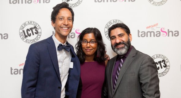 Danny Pudi and Parvesh Cheena with LCT3 Associate Director Natasha Sinha. Photo by Chasi Annexy.
