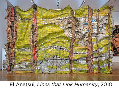 "Photo of ""Lines that Link Humanity"" (2010) artwork by El Anatsui."