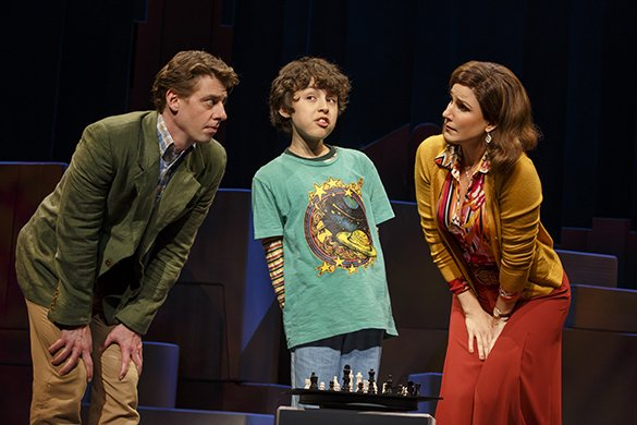 Christian Borle, Anthony Rosenthal and Stephanie J. Block. Photo by Joan Marcus.