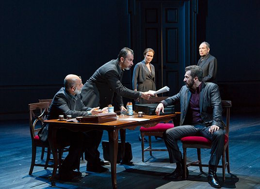 Anthony Azizi, Dariush Kashani, Jennifer Ehle, Michael Aronov and Daniel Oreskes. Photo by T. Charles Erickson.