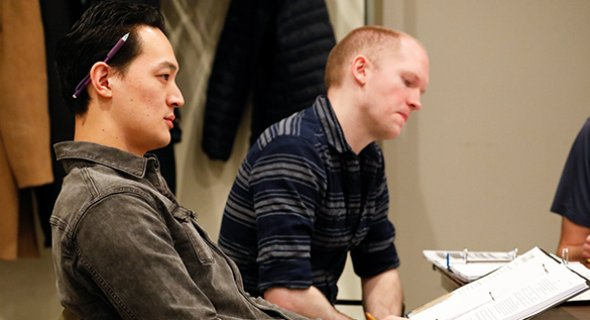 Edward Chin-Lyn and Stage Manager Joshua Gustafson. Photo by Chasi Annexy.