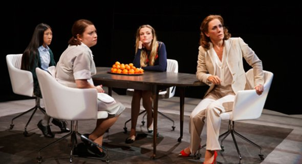 Misha Seo, Vanessa Aspillaga, Emily Meade and Laurie Metcalf. Photo by Joan Marcus.