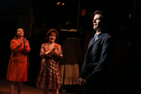 Michael Urie (foreground), Dale Soules and Patti LuPone. Photo by Joan Marcus.