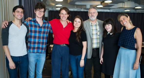 Gideon Glick, Peter Mark Kendall, Christopher Sears, Leah Karpel, Scott Jaeck, Madeleine Martin and Zoë Winters. Photo by Jenny Anderson.