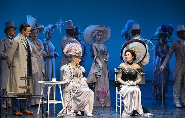 Harry Hadden-Paton, Rosemary Harris, Laura Benanti, and the cast of MY FAIR LADY. Photo by Joan Marcus.
