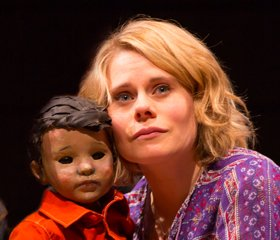 Celia Keenan-Bolger and child puppet in THE OLDEST BOY. Photo by T. Charles Erickson.